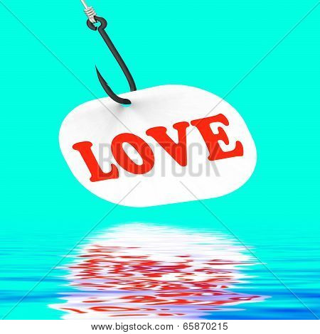 Love On Hook Displays Romantic Seduction Or Flirting