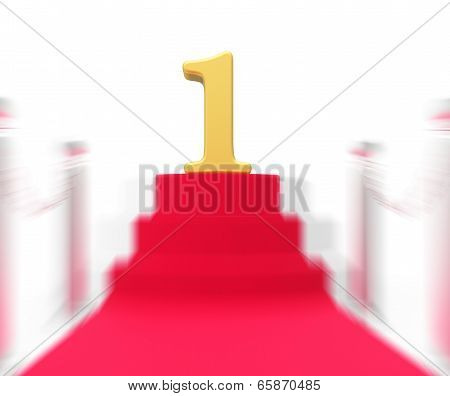 Golden One On Red Carpet Displays Film Industry Awards Or Event