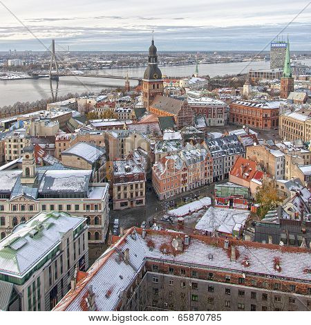 Riga Panorama Of Old Town River
