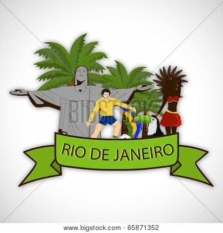 Illustration of Brazilian traditions and culture with famous monument of Christ the Redeemer in Rio De Janerio, Brazilian Carnival Dance, Soccer Ball Player and Flag on grey background.