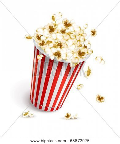 Paper glass full of popcorn. Eps10 vector illustration. Isolated on white background
