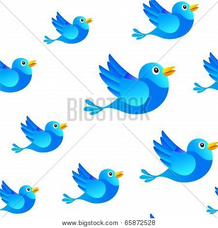Blue bird social media seamless background