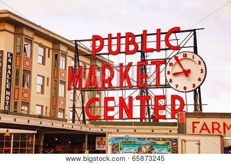 Famous Pike Place Market Sign In Seattle