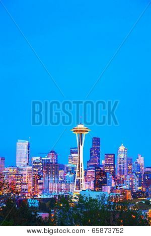 Downtown Seattle Cityscape With Space Needle