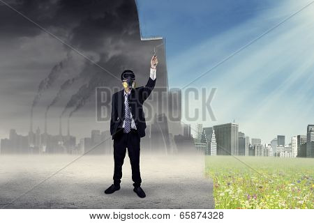 Businessman Drawing A Green City