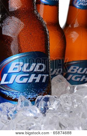 Closeup Of Bud Light Beer Bottles