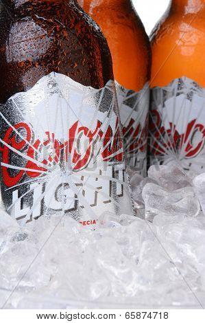 Closeup Of Coors Light Beer Bottles