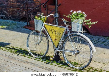Bike as a signpost and advertisment