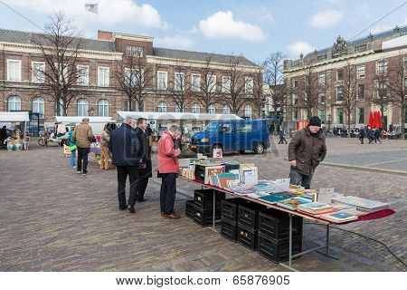 People At A Bookmarket In The Hague, The Netherlands