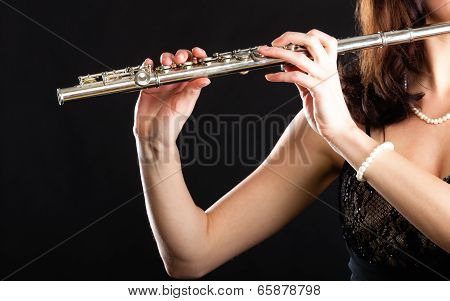 Art. Hands Of Flutist Flaustist Musician Playing Flute