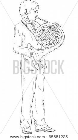 vector - a young boy playing french horn - isolated on background