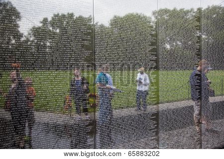 Names Of Vietnam War Casualties At Veterans Memorial