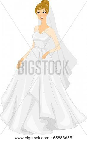 Illustration of a Bride Posing in Her Bridal Gown