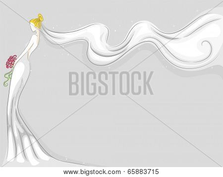 Background Illustration Featuring a Bride Wearing a Fluttering Veil