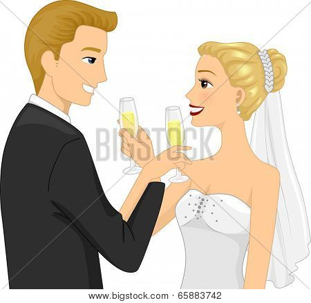 Illustration of a Newlywed Couple Doing a Toast