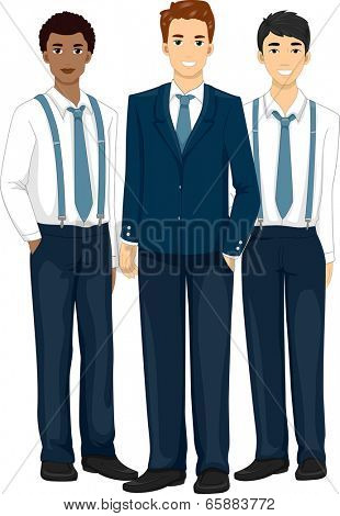 Illustration Featuring Groomsmen Wearing Formal Attire