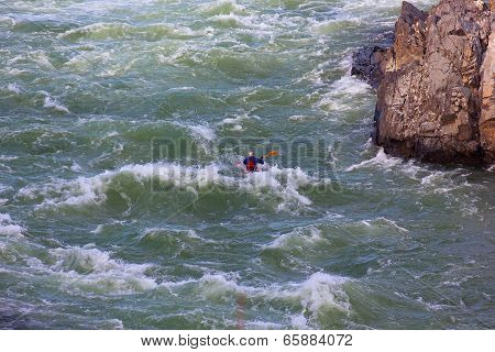 Kayaking in rough water