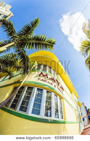 Facade Of Art Deco Building At Ocean Drive With Maya Grill