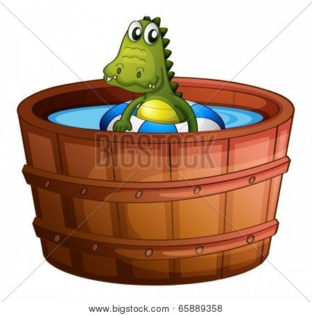Illustration of a crocodile swimming at the bathtub on a white background