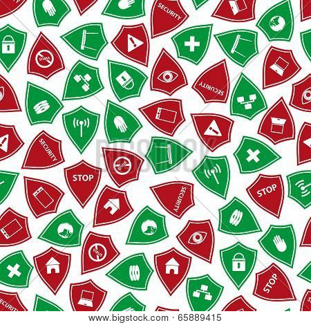 red and green security shields pattern eps10