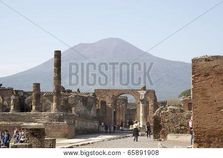 Tourists Visiting Pompeii, Located At The Volcano Mount Vesuvius