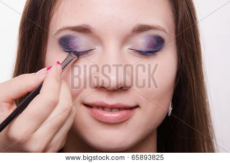 Makeup Artist Embellish Eyelashes Of A Beautiful Girl