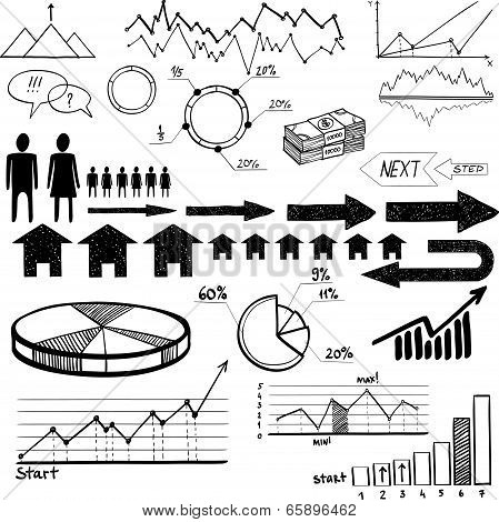 set of hand drawn business finance elements vector illustration on white background