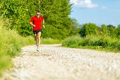 stock photo of dirt road  - Man runner trail running on country road in summer sunset - JPG