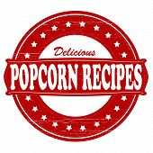 picture of popcorn  - Stamp with text popcorn recipes insidevector illustration - JPG