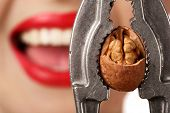 stock photo of nutcracker  - smiling woman strangles walnut with steel nutcracker - JPG