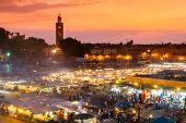 picture of squares  - Jamaa el Fna also Jemaa el Fnaa or Djema el Fna or Djemaa el Fnaa is square and market place in Marrakesh - JPG