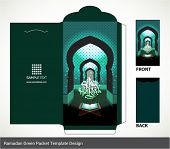stock photo of hari  - Vector Muslim Ramadan Element Money Green Packet Design - JPG