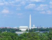 picture of washington skyline  - This is the Washington DC skyline including the Lincoln Memorial - JPG