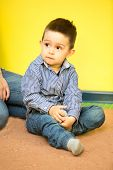 picture of montessori school  - Little child boy playing in kindergarten in Montessori preschool Class - JPG