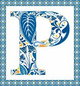 picture of letter p  - Blue floral capital letter P in frame made of Portuguese tiles - JPG
