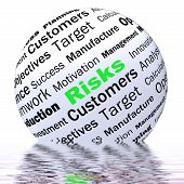 Постер, плакат: Risks Sphere Definition Displays Insecurity And Financial Risks
