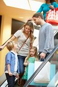 pic of escalator  - Family On Escalator In Shopping Mall Together - JPG