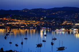 stock photo of gumbet  - View of Gumbet Bay by night - JPG