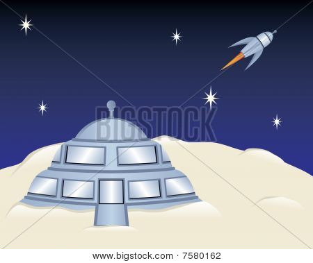 Moon House with Rocket Ship