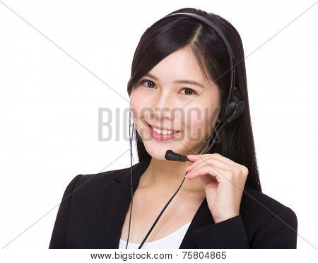 Female hotline operator