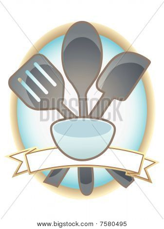 Baking Utensils Oval Blank Banner