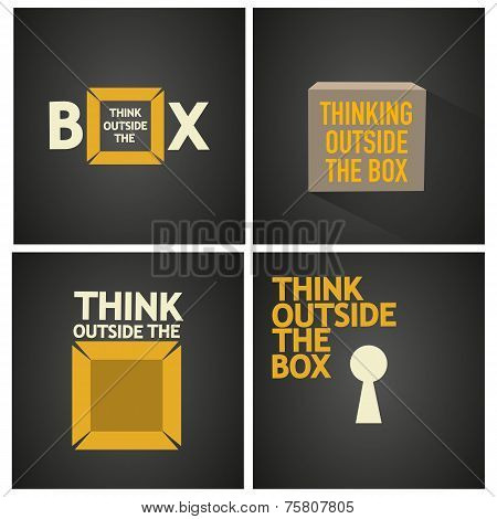 think outside the box vector poster