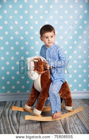 Little boy and horse - rocking chair