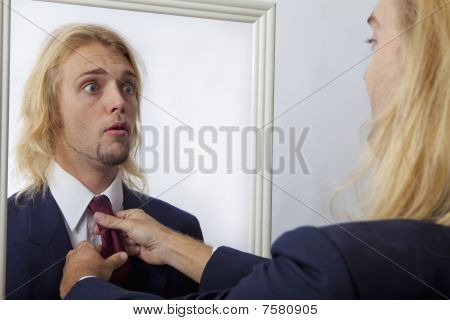 young man in a mirror