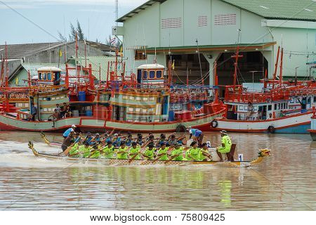 Unidentified Dragon Boat Teams  In Rayong River.