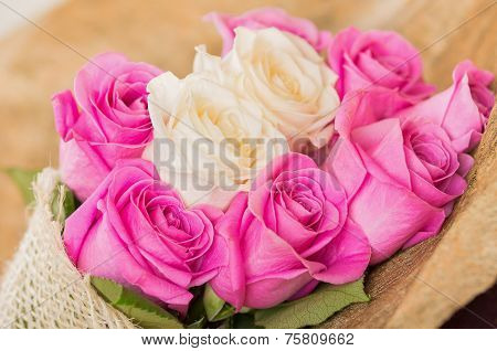 Beautiful bouquet of Ecuadorian pink and white roses