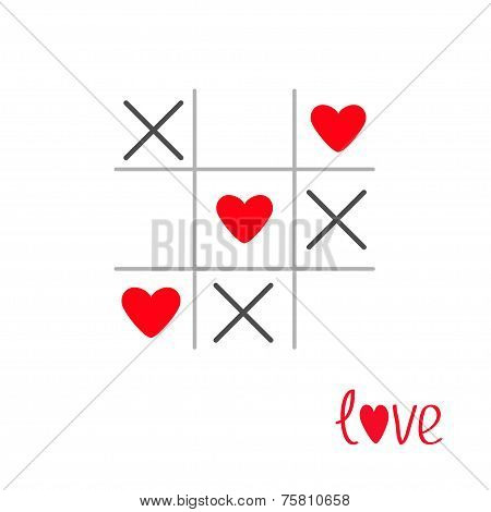 Tic Tac Toe Game With Cross And Heart Sign Mark Love Card Isolated Flat Design