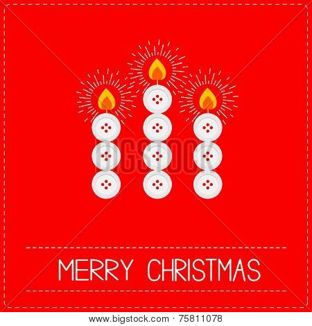 Merry Christmas Candles Button Applique On Red Background Dash Line Flat Design