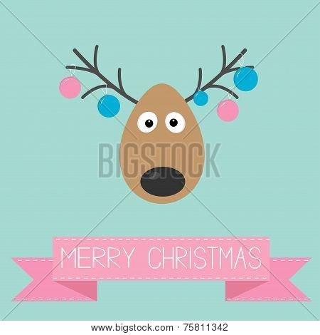 Cute Cartoon Deer With Hanging Christmas Ball Toys On Horns Merry Christmas Background Card Flat Des