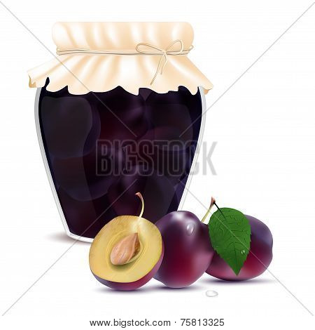 Plum Compote In A Jar And Fresh Plums
